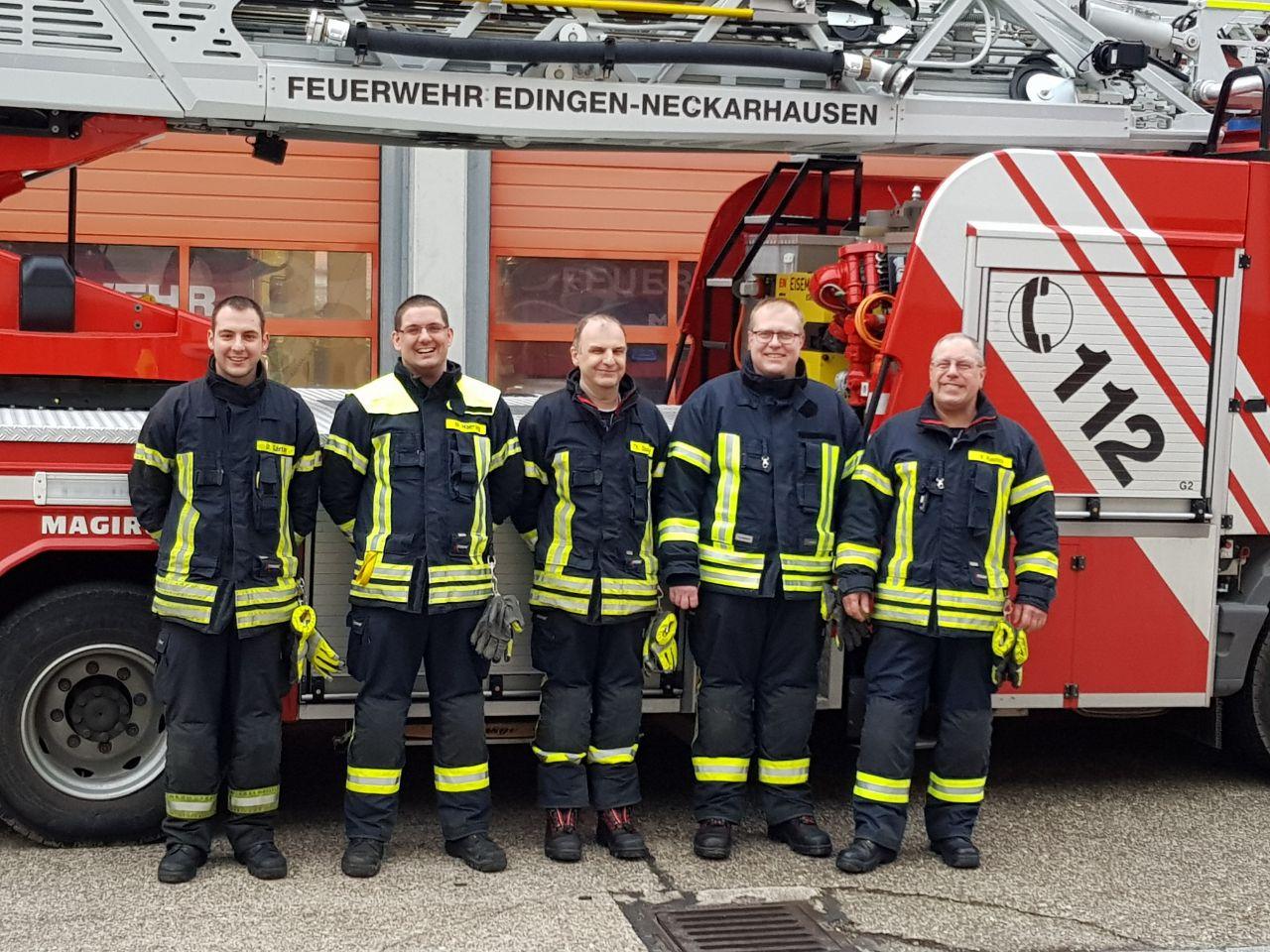 V.l.n.r.: Daniel Gärtner, Moritz Hoering, Thomas Quintel, Daniel Wolf und Ausbilder Volker Rausch
